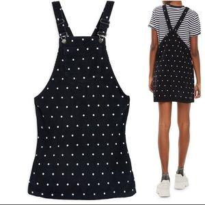 Topshop Polka Dot Corduroy Pinafore Dress NWOT
